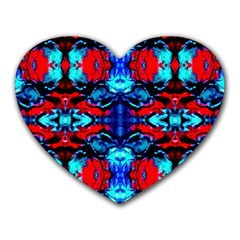 Red Black Blue Art Pattern Abstract Heart Mousepads by Costasonlineshop