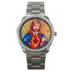 Sacred Heart Of Jesus Christ Drawing Sport Metal Watches by KentChua