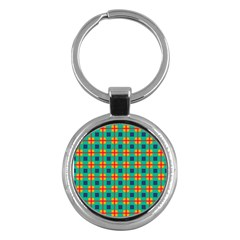Squares In Retro Colors Pattern 			key Chain (round) by LalyLauraFLM