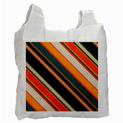 Diagonal Stripes In Retro Colors 			recycle Bag (one Side) by LalyLauraFLM