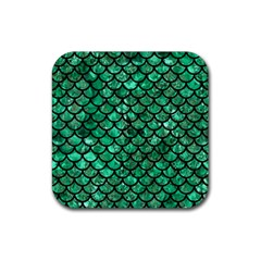 Scales1 Black Marble & Green Marble Rubber Square Coaster (4 Pack) by trendistuff