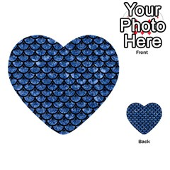 Scales3 Black Marble & Blue Marble Multi Purpose Cards (heart) by trendistuff
