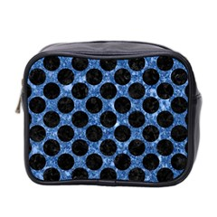 Circles2 Black Marble & Blue Marble Mini Toiletries Bag (two Sides) by trendistuff