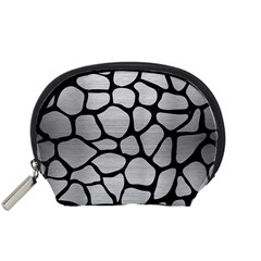 Skin1 Black Marble & Silver Brushed Metal Accessory Pouch (small) by trendistuff