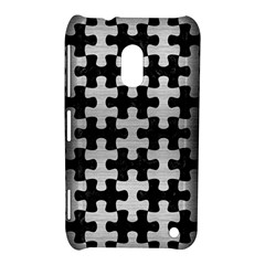 Puzzle1 Black Marble & Silver Brushed Metal Nokia Lumia 620 Hardshell Case by trendistuff