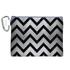 Chevron9 Black Marble & Silver Brushed Metal (r) Canvas Cosmetic Bag (xl) by trendistuff