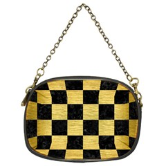 Square1 Black Marble & Gold Brushed Metal Chain Purse (two Sides) by trendistuff