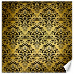Damask1 Black Marble & Gold Brushed Metal (r) Canvas 16  X 16  by trendistuff