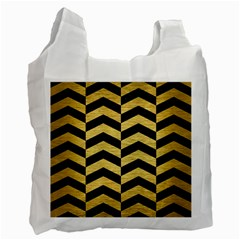 Chevron2 Black Marble & Gold Brushed Metal Recycle Bag (two Side) by trendistuff