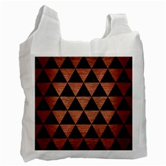 Triangle3 Black Marble & Copper Brushed Metal Recycle Bag (two Side) by trendistuff