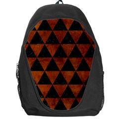 Triangle3 Black Marble & Brown Burl Wood Backpack Bag by trendistuff