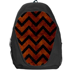 Chevron9 Black Marble & Brown Burl Wood (r) Backpack Bag by trendistuff