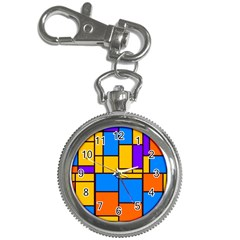 Retro Colors Rectangles And Squares 			key Chain Watch by LalyLauraFLM