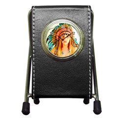 Indian 28 Pen Holder Desk Clocks by indianwarrior