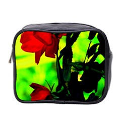 Red Roses And Bright Green 3 Mini Toiletries Bag 2 Side by timelessartoncanvas