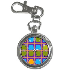 Shapes In Squares Pattern 			key Chain Watch by LalyLauraFLM
