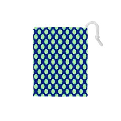 Mod Retro Green Circles On Blue Drawstring Pouches (small)  by BrightVibesDesign