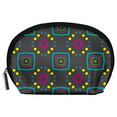 Squares And Circles Pattern Accessory Pouch by LalyLauraFLM