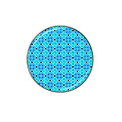 Vibrant Modern Abstract Lattice Aqua Blue Quilt Hat Clip Ball Marker (4 Pack) by DianeClancy