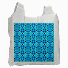 Vibrant Modern Abstract Lattice Aqua Blue Quilt Recycle Bag (one Side) by DianeClancy