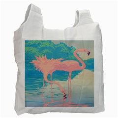 Two Pink Flamingos Pop Art Recycle Bag (one Side) by WaltCurleeArt