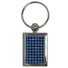 Houndstooth1 Black Marble & Blue Marble Key Chain (rectangle) by trendistuff
