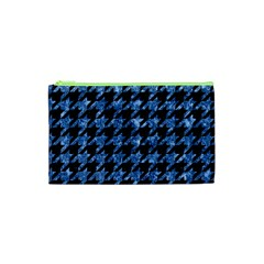Houndstooth1 Black Marble & Blue Marble Cosmetic Bag (xs) by trendistuff