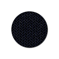 Brick2 Black Marble & Blue Marble Rubber Round Coaster (4 Pack) by trendistuff