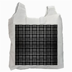 Woven1 Black Marble & Silver Brushed Metal Recycle Bag (one Side) by trendistuff