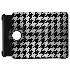 Houndstooth1 Black Marble & Silver Brushed Metal Kindle Fire Hd Flip 360 Case by trendistuff