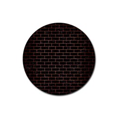 Brick1 Black Marble & Copper Brushed Metal Rubber Round Coaster (4 Pack) by trendistuff