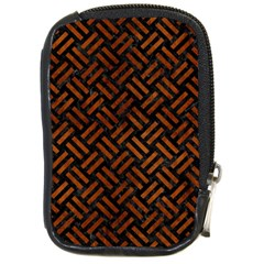 Woven2 Black Marble & Brown Burl Wood Compact Camera Leather Case by trendistuff