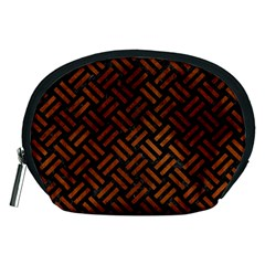 Woven2 Black Marble & Brown Burl Wood Accessory Pouch (medium) by trendistuff