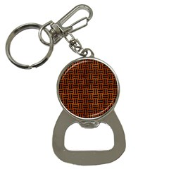 Woven1 Black Marble & Brown Burl Wood (r) Bottle Opener Key Chain by trendistuff