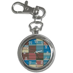 Rectangles In Retro Colors Pattern                      			key Chain Watch by LalyLauraFLM