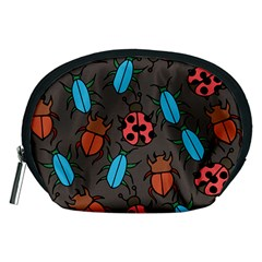 Beetles And Ladybug Pattern Bug Lover  Accessory Pouches (medium)  by BubbSnugg