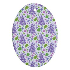 Liliac Flowers And Leaves Pattern Ornament (oval)  by TastefulDesigns