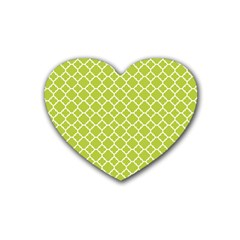 Spring Green Quatrefoil Pattern Heart Coaster (4 Pack) by Zandiepants