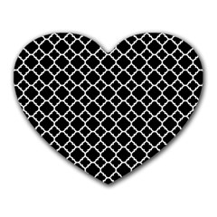 Black & White quatrefoil pattern Heart Mousepad by Zandiepants