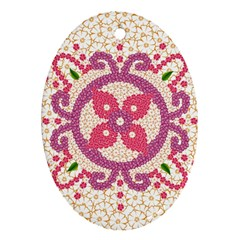 Hindu Flower Ornament Background Ornament (oval)  by TastefulDesigns