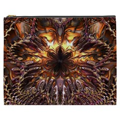 Golden Metallic Abstract Flower Cosmetic Bag (xxxl)  by CrypticFragmentsDesign