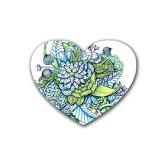 Peaceful Flower Garden 1 Rubber Coaster (heart) by Zandiepants