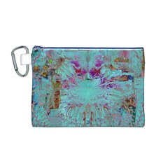 Retro Hippie Abstract Floral Blue Violet Canvas Cosmetic Bag (M) by CrypticFragmentsDesign
