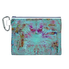 Retro Hippie Abstract Floral Blue Violet Canvas Cosmetic Bag (l) by CrypticFragmentsDesign