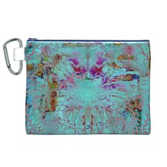 Retro Hippie Abstract Floral Blue Violet Canvas Cosmetic Bag (xl)  by CrypticFragmentsDesign