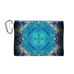 Boho Hippie Tie Dye Retro Seventies Blue Violet Canvas Cosmetic Bag (M) by CrypticFragmentsDesign