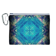 Boho Hippie Tie Dye Retro Seventies Blue Violet Canvas Cosmetic Bag (l) by CrypticFragmentsDesign