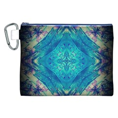 Boho Hippie Tie Dye Retro Seventies Blue Violet Canvas Cosmetic Bag (xxl)  by CrypticFragmentsDesign