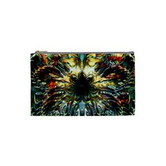 Metallic Abstract Flower Copper Patina Cosmetic Bag (Small)  by CrypticFragmentsDesign