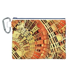 Semi Circles Abstract Geometric Modern Art Orange Canvas Cosmetic Bag (l) by CrypticFragmentsDesign